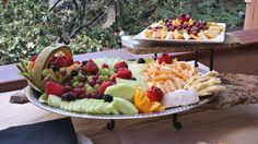 This is how Saltgrass does a cheese and fruit platter.  Hand carved cantaloupe basket and fruit flowers.