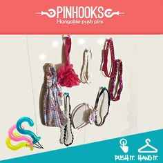 Hair accessories piling up? Organize the abundance of hair bands with Pin Hooks for easy access and storage! They are just a few clicks away at www.pinhooks.com! #PinHooks #Wallhooks #DIY #organized #Accessories #MyHome #Lifemadeeasy #Pinterest #Hooks #Etsy
