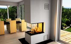 Gas Fireplace, Fireplaces, Villa, Lounge, Living Room, Home Decor, House Decorations, Corning Glass, Fireplace Set