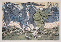 Blue Heron Dance - Linocut & Woodblock by Holly Meade 2004