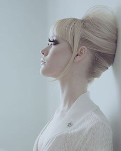 great up-do. Sixties-inspired, big bouffant but still sleek.