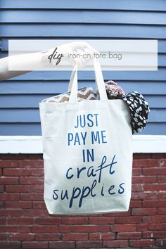 Just Pay Me in Craft Supplies - DIY Iron-on Tote Idle Hands Awake