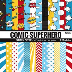 """Superhero digital paper pack """"Comic-Superheroes"""", with comic backgrounds to use in scrapbook, card making..."""