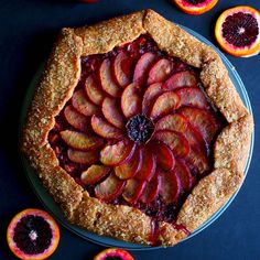 Gluten Free Plum Pie Recipe (vegan dairy free)- Easy rustic galette filled with sweet plums and tart blood oranges