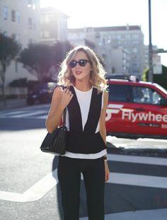 g bgbg tuxedo peplum black and white top black dress pants work wear office attire professional women style fashion blog san francisco
