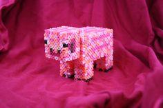 3D Minecraft Pig Figure Made of Perler Beads by BraveDeity, $15.00