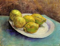 Still Life with Lemons on a Plate - Vincent van Gogh . Created in Paris in March - April, Located at Van Gogh Museum Vincent Van Gogh, Van Gogh Still Life, Still Life Art, Van Gogh Museum, Van Gogh Art, Art Van, Theo Van Gogh, Patrick Nagel, Paul Cézanne