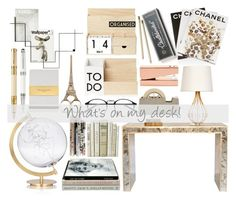 """""""What's on my Desk! xx"""" by agg1994 ❤ liked on Polyvore featuring interior, interiors, interior design, home, home decor, interior decorating, Worlds Away, SecondoMe, Assouline Publishing and Areaware"""