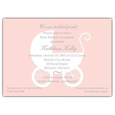 Carriage Pink Baby Shower Invitations | PaperStyle