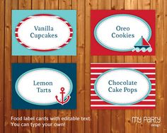 Nautical Party - PRINTABLE & EDITABLE diy Food Labels / Cards / Placecards / Tags - Blue and Red, Boat, Anchor. $7.00, via Etsy.
