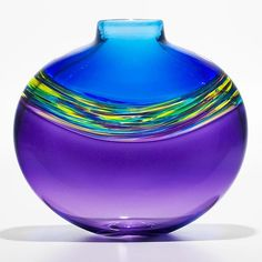 """""""Transparent Banded Vortex Vase in Cerulean Cool Lime and Grape""""  Art Glass vase    Created by Michael Trimpol"""
