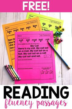 Free reading fluency for kindergarten! These activities are perfect for small groups in your classroom. Have your students practice reading each word first, find and highlight the words in the story, and then the story three times for fluency. Reading Fluency Activities, Fluency Practice, Phonics Activities, Reading Resources, Reading Strategies, Reading Skills, Teaching Reading, Free Reading, Reading Intervention Activities
