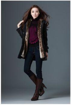 Zicac Women`s Thicken Fleece Faux Fur Warm Winter Coat Hood Parka Overcoat Long Jacket Fur Winter Coat Fur Coat... $65.30 (62% OFF)
