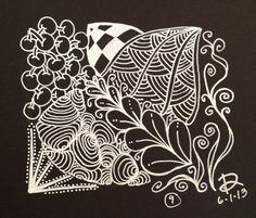 Zentangle Day 9 - white on black. Dont have a white pencil to shade it, but I kinda like it this way.