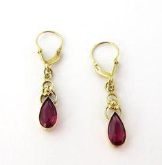 Vintage 10K Yellow Gold Synthetic Red Ruby Drop Dangle Tear Drop Earrings Pierced