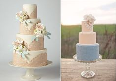 doile lace wedding cakes by erica o'brien via Brides .com left and Sweet and Saucy right