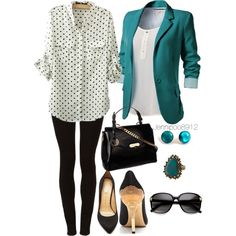 """""""Cute polkadot and teal outfit"""" by jennipoo8912 on Polyvore---Switch out the leggings with black harems or chinos so it can be suitable for a hijabi ;)"""