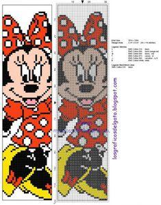 Cross stitch children bookmark with Disney Minnie Mouse - free cross stitch patterns simple unique alphabets baby Cross Stitch Bookmarks, Cross Stitch Books, Cross Stitch Charts, Disney Stitch, Disney Cross Stitch Patterns, Cross Stitch Designs, Loom Bands, Cross Stitching, Cross Stitch Embroidery