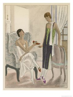 Designs by Perugia: An illustration of exquisite shoe styles by Perugia. White Strapless Dress with Red and Gold Shoes. From the Gazette du Bon Ton, 1924.