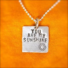 You are my Sunshine Hand Stamped Sterling Silver Personalized Charms by PersonalizedCharms on Etsy, $25.00