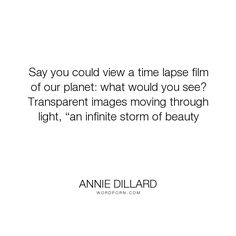 """Annie Dillard - """"Say you could view a time lapse film of our planet: what would you see? Transparent..."""". poetry, spirituality, history, seeing"""