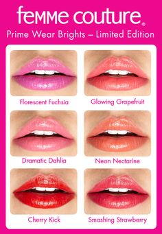 Femme Couture Prime Wear Brights neon lipsticks - available in Sally Beauty stores July 2013!
