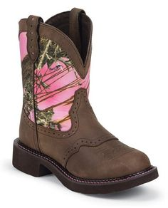 Womens Justin Gypsy Brown Pink Camo Cowboy Boot