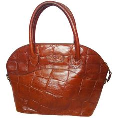 Vintage Mulberry croc embossed brown leather tote bag in bolide bag style. 1