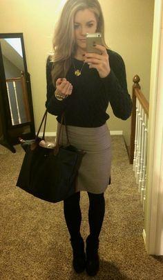 PolishedandPink: dark sweater, pencil skirt, tights, booties.