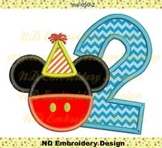 Mickey Mouse Pants Birthday     Embroidery Design