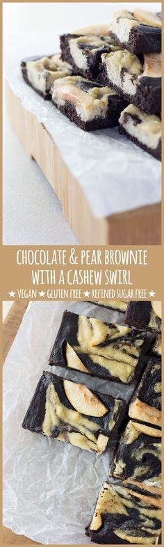 Fudgey brownie, sweet chunks of pear and a cashew swirl with a hint of ginger…