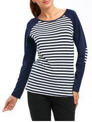 Casual Horizontal Striped Raglan Sleeve T-Shirt