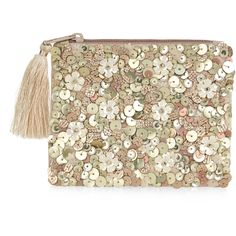 Accessorize Daisy Sequin Ziptop Purse ($12) ❤ liked on Polyvore featuring bags, wallets, zip bags, coin pouch, sequin wallet, zip coin purse and zipper bag