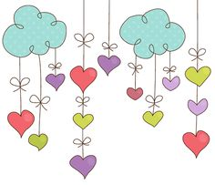 Hanging Hearts Digital Clipart Set - Ideal for Scrapbooking, Cardmaking and Paper Crafts Doodle Art, Doodle Drawings, Easy Drawings, Clip Art, Flower Doodles, Doodle Flowers, Hanging Hearts, Scrapbook, Watercolor Cards