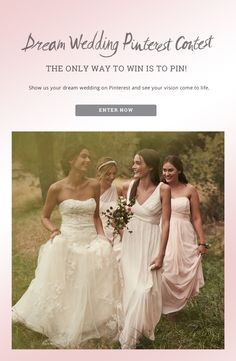 Show us your dream wedding on Pinterest and your vision could come to life! Three grand prize winners will be selected by Lover.ly, Bright Pink, and Melissa Sweet and will each receive $10,000! Enter here thru 3/19: http://sweeps.piqora.com/dreamwedding Official Rules: http://sweeps.piqora.com/fb/contest/content/davidsbridal.com/933/rules
