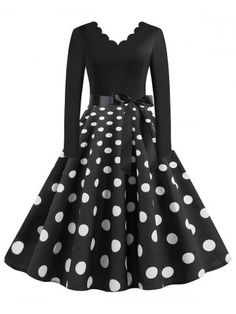 Scalloped Trim Polka Dot Plus Size Belted Rockabilly Dress ,You can find Rockabilly dresses and more on our website.Scalloped Trim Polka Dot Plus Size . Plus Size Vintage Dresses, Plus Size Dresses, Plus Size Outfits, Plus Size Rockabilly, Rockabilly Dresses, Plus Size Belts, Scalloped Dress, Buy Dress, Women's Fashion Dresses