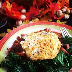 Fried egg over sautéed kale & side of sage roasted sweet potatoes
