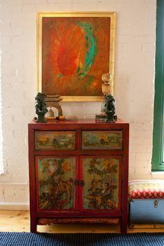 Indian inspired refurbished cupboard