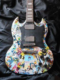 X-men SG style electric guitar with x-men comic panels. Guitar Logo, Guitar Tabs, Music Guitar, Cool Guitar, Playing Guitar, Guitar Vector, Guitar Tattoo, Unique Guitars, Custom Guitars