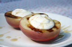 Grilled Peaches with Greek Yogurt Cinnamon and Agave Nectar.