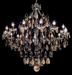Lustre Mântova 16 braços com cristais de rocha fumê e cristais transparentes Asfour (Egito - 30% PbO). #lustre #lustrecristalderocha