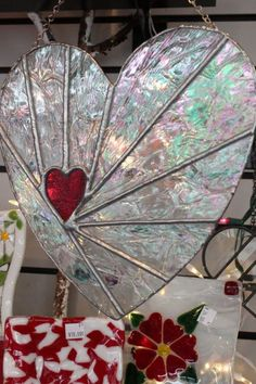 "Eclectic ... like me: ""Your Heart In Mine"" Stained Glass Decorative by TammysStainedGlass, on etsy (sold)"