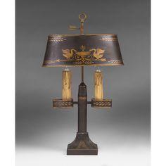 Vintage French Tole Peinte Student Lamp