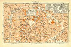 1930 brussels inner city plan street map belgium at carambasvintage httpetsy