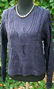 FOREVER-21-NAVY-KNIT-SWEATER-Long-Sleeve-Lightweight-Knit-Womens-Large-NWT