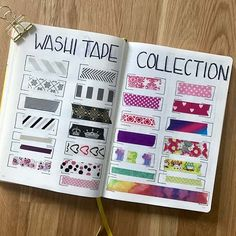 Washi Tape Swatch Page for Bullet Journal Ideas