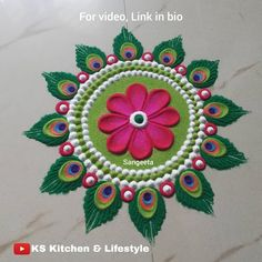 Video, Link in bio.Tag 1 friend who will love to recreate this rangoli art. Video, Link in bio.Tag 1 friend who will love to recreate this rangoli art. Rangoli Designs Peacock, Rangoli Designs Simple Diwali, Rangoli Simple, Indian Rangoli Designs, Rangoli Designs Latest, Free Hand Rangoli Design, Rangoli Border Designs, Small Rangoli Design, Rangoli Ideas
