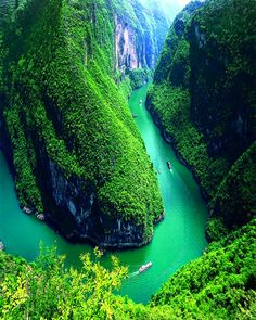 View of the Qutang Gorge along the Yangtze River from Baidicheng in China.