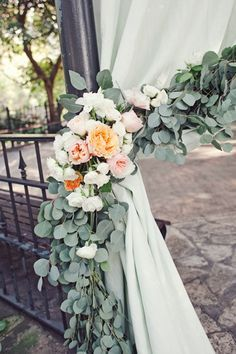garlands on pillars at wedding ceremony - Google Search