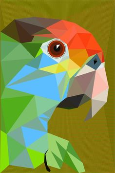 Large bird art, Large wall art, Large wall print, Large art print, Parrot art, Vibrant colors, Geometric bird, Modern, L04 Big Parrot by villavera on Etsy